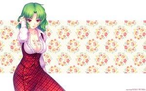 Rating: Safe Score: 143 Tags: breasts cleavage dress green_hair jpeg_artifacts kazami_yuuka open_shirt photoshop red_eyes sayori short_hair touhou watermark User: Kumacuda