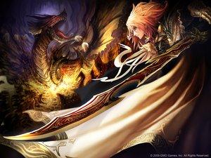 Rating: Safe Score: 113 Tags: blonde_hair dragon original pink_hair purple_eyes short_hair sword tachikawa_mushimaro watermark weapon User: keke