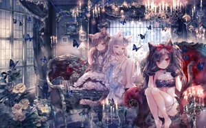 Rating: Safe Score: 121 Tags: animal animal_ears apron barefoot brown_eyes brown_hair butterfly catgirl choker couch dress flowers gloves lolita_fashion long_hair maid onineko original red_eyes rose tail twintails white_hair User: BattlequeenYume