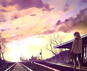 Rating: Safe Score: 70 Tags: building clouds lordlessv2 megurine_luka pink_hair silhouette sky sunset train vocaloid User: FormX