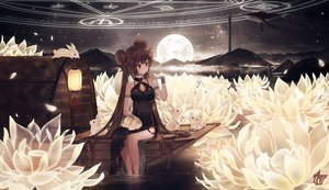 Rating: Safe Score: 111 Tags: animal boat breasts brown_hair chinese_clothes chinese_dress cleavage dungeon_and_fighter female_fighter_(dnf) fish flowers long_hair magic moon night rabbit red_eyes signed stars twintails water windporo wristwear User: luckyluna