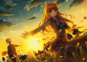 Rating: Safe Score: 70 Tags: animal_ears craft_lawrence horo male ookami_to_koushinryou stripe_(artist) sunset tail wolfgirl User: RyuZU