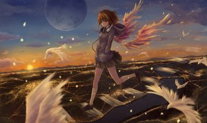 Rating: Safe Score: 127 Tags: animal bird brown_eyes brown_hair city clouds headphones kneehighs moon original short_hair skirt sky water willgoon wings User: Flandre93