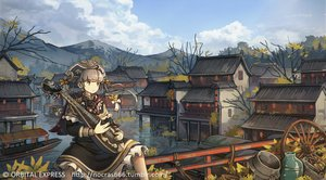 Rating: Safe Score: 36 Tags: autumn bespin boat bow brown_eyes building city clouds dress headdress instrument long_hair original scenic sky water watermark User: RyuZU