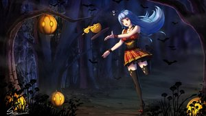 Rating: Safe Score: 28 Tags: animal anthropomorphism aqua_hair bat cross fang forest halloween necklace night pumpkin quincy red_eyes signed skirt snow_(12065805) thighhighs tree zhanjian_shaonu User: RyuZU