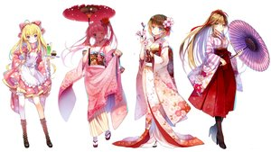 Rating: Safe Score: 56 Tags: apron aqua_eyes blonde_hair blush boots bow brown_hair cherry_blossoms dress drink flowers green_eyes group japanese_clothes jiji_(381134808) kimono lolita_fashion long_hair petals pink_hair ponytail purple_eyes ribbons short_hair thighhighs twintails umbrella white wink User: RyuZU