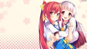 "Rating: Safe Score: 183 Tags: 2girls akatsuki_arisa ano_harewataru_sora_yori_takaku blush chiri_(atlanta) chuablesoft crossover gray_hair headband himekami_ayame long_hair pink red_eyes red_hair ribbons school_uniform skirt watashi_ga_suki_nara_""suki""_tte_itte! User: Wiresetc"