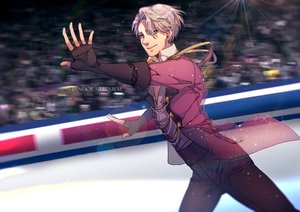 Rating: Safe Score: 9 Tags: all_male aqua_eyes elbow_gloves gloves male pan_(pandora_requiem) pink_hair short_hair sport viktor_nikiforov watermark yuri!!!_on_ice User: RyuZU