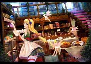Rating: Safe Score: 131 Tags: apron blonde_hair book breasts dress drink fairy food garter headband kero_(tomoki-tiger) kiss leaves magic original paper pointed_ears shoujo_ai stairs wings User: Flandre93
