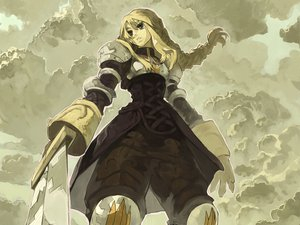 Rating: Safe Score: 33 Tags: agrias_oaks armor blonde_hair bob_(biyonbiyon) braids clouds final_fantasy final_fantasy_tactics long_hair sky sword weapon User: 秀悟