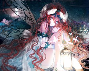 Rating: Safe Score: 173 Tags: butterfly elf long_hair original red_hair ukai_saki water wings User: Wiresetc