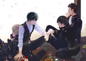 Rating: Safe Score: 32 Tags: all_male black_hair brown_hair drink food gintama hijikata_toushirou jpeg_artifacts kondou_isao loli_bushi male okita_sougo petals sake short_hair sleeping yamazaki_sagaru User: RyuZU
