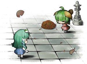Rating: Safe Score: 38 Tags: 2girls animal_ears chibi green_hair japanese_clothes kasodani_kyouko kochiya_sanae miko touhou umigarasu_(kitsune1963) User: PAIIS