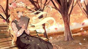 Rating: Safe Score: 52 Tags: autumn blonde_hair book braids flowers headdress leaves long_hair mechuragi original signed tree User: BattlequeenYume