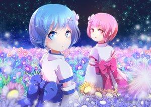 Rating: Safe Score: 40 Tags: aqua_eyes aqua_hair blue_eyes chan_yuan flowers japanese_clothes jpeg_artifacts loli pink_hair ram_(re:zero) rem_(re:zero) re:zero_kara_hajimeru_isekai_seikatsu twins User: gnarf1975