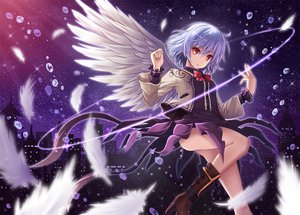 Rating: Safe Score: 156 Tags: akashio boots bow bubbles building city feathers gray_hair kishin_sagume night orange_eyes short_hair stars touhou wings User: Flandre93
