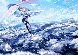 Rating: Safe Score: 91 Tags: aqua_eyes aqua_hair clouds hatsune_miku long_hair skirt sky tie twintails ume_(plumblossom) vocaloid wings User: opai