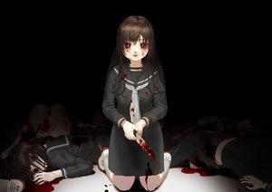 Rating: Safe Score: 46 Tags: black blood brown_hair crying hanjuku_otome kneehighs knife long_hair original red_eyes school_uniform skirt tears User: sadodere-chan