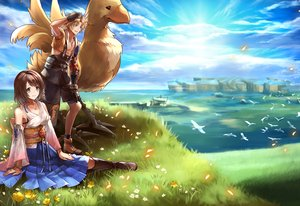 Rating: Safe Score: 22 Tags: animal bird blonde_hair boots brown_hair chocobo clouds final_fantasy final_fantasy_x flowers gloves grass green_eyes japanese_clothes male necklace sasanomesi short_hair skirt sky tidus water wristwear yuna_(ffx) User: otaku_emmy