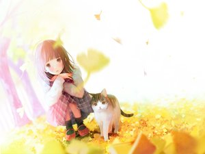 Rating: Safe Score: 68 Tags: animal autumn brown_eyes brown_hair cat hinata_(lipcream) leaves original short_hair skirt User: RyuZU