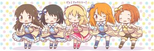 Rating: Safe Score: 16 Tags: black_hair blonde_hair bow braids brown_eyes brown_hair chibi choker dress green_eyes group headband idolmaster idolmaster_cinderella_girls idolmaster_cinderella_girls_starlight_stage kneehighs lolita_fashion long_hair microphone mitarashi_neko orange_hair pink_eyes ryuuzaki_kaoru sakurai_momoka sasaki_chie seifuku short_hair shorts tachibana_arisu uniform wink wristwear yuuki_haru User: otaku_emmy