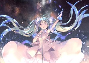 Rating: Safe Score: 76 Tags: dress gin_(oyoyo) hatsune_miku microphone stars tears twintails vocaloid User: FormX