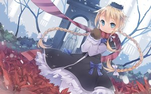 Rating: Safe Score: 18 Tags: blonde_hair blue_eyes blush braids dress flowers fred04142 gloves hat long_hair original ribbons scarf snow winter User: Flandre93