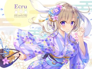 Rating: Safe Score: 50 Tags: ameto_yuki animal_ears blush breasts brown_hair bunny_ears bunnygirl flowers japanese_clothes kimono long_hair original purple_eyes tail watermark yukata User: 蕾咪
