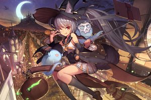 Rating: Safe Score: 88 Tags: animal animal_ears bat building city dragon dress gray_hair halloween hat kneehighs long_hair moon night orange_eyes original ponytail pumpkin sky tagme_(artist) tail wink witch witch_hat User: BattlequeenYume