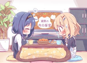 Rating: Safe Score: 39 Tags: 2girls blonde_hair blue_hair blush breasts brown_eyes dress fang food fruit furutani_himawari headband kotatsu oomuro_sakurako orange_(fruit) short_hair shorts sleeping takahero yuru_yuri User: otaku_emmy