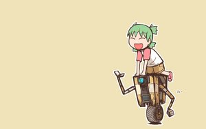 Rating: Safe Score: 29 Tags: borderlands borderlands_2 claptrap crossover green_hair koiwai_yotsuba loli nns_(sobchan) robot short_hair shorts yellow yotsubato! User: RyuZU