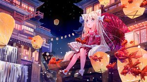 Rating: Safe Score: 47 Tags: animal animal_ears blonde_hair blue_eyes building catgirl chinese_clothes fish loli long_hair multiple_tails original paper peas_(peas0125) socks tail umbrella water waterfall User: BattlequeenYume