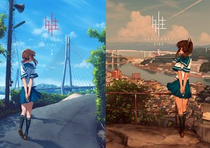 Rating: Safe Score: 110 Tags: 2girls anthropomorphism blew_and_white brown_hair building city clouds fubuki_(kancolle) i-401_(kancolle) kantai_collection kneehighs landscape long_hair ponytail scenic seifuku short_hair skirt sky water User: BattlequeenYume