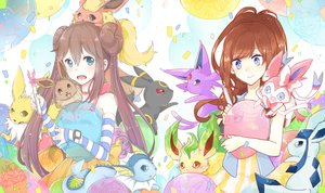 Rating: Safe Score: 88 Tags: 2girls blue_eyes brown_eyes brown_hair choker eevee elbow_gloves espeon flareon glaceon gloves hsiao jolteon leafeon long_hair mei_(pokemon) mo_(k40633) pokemon red_eyes sylveon touko_(pokemon) umbreon vaporeon wristwear User: FormX