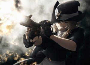 Rating: Safe Score: 206 Tags: blonde_hair cowgirl gloves gun hat imizu_(nitro_unknown) kirisame_marisa short_hair touhou weapon witch_hat yellow_eyes User: HawthorneKitty