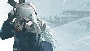 Rating: Safe Score: 50 Tags: anthropomorphism girls_frontline gloves gray_hair green_eyes gun hk416_(girls_frontline) long_hair mask seyana signed snow weapon User: Nepcoheart