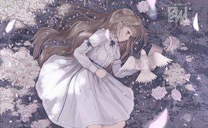 Rating: Safe Score: 60 Tags: animal bird brown_eyes brown_hair cherry_blossoms dress flowers jcj0125 long_hair original rose signed User: BattlequeenYume