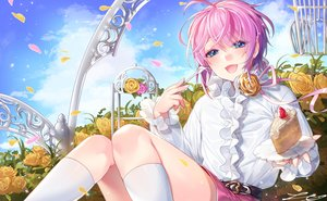 Rating: Safe Score: 21 Tags: all_male amemura_ramuda cake flowers food hypnosis_mic ia_(ias1010) kneehighs male pink_hair rose shirt short_hair signed trap User: BattlequeenYume
