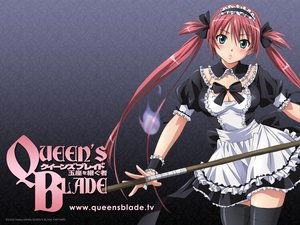 Rating: Safe Score: 98 Tags: airi blue_eyes breasts cleavage maid queen's_blade thighhighs watermark weapon User: pantu