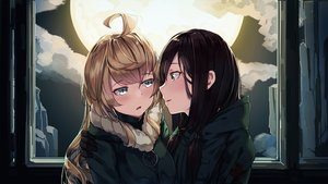 Rating: Safe Score: 92 Tags: 2girls black_hair blonde_hair chito clouds kiss long_hair military moon natori_youkai shoujo_ai shoujo_shuumatsu_ryoukou sky uniform yuuri User: RyuZU