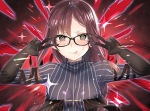 Rating: Safe Score: 36 Tags: blush breasts brown_eyes brown_hair consort_yu_(fate) fate/grand_order fate_(series) fou_(ssqseeker) glasses long_hair parody skintight User: RyuZU