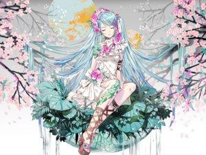 Rating: Safe Score: 53 Tags: blue_hair cherry_blossoms dress flowers g.g.lemon hatsune_miku headdress leaves long_hair vocaloid water waterfall User: otaku_emmy