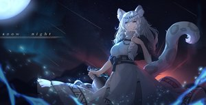Rating: Safe Score: 51 Tags: animal_ears arknights bell braids catgirl dress gray_eyes headdress long_hair moon moyude_wangzi_jiang necklace night pramanix_(arknights) stars tail white_hair User: BattlequeenYume