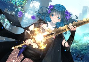 Rating: Safe Score: 34 Tags: armor blush byleth_(female) cape fire_emblem flowers green_eyes green_hair kero_sweet navel shorts signed sword weapon User: BattlequeenYume