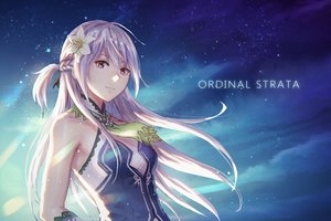 Rating: Safe Score: 66 Tags: anbe_yoshirou azucena braids flowers gray_hair long_hair night ordinal_strata pink_eyes sky stars User: BattlequeenYume