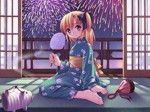 Rating: Safe Score: 12 Tags: barefoot canvas2_niji_iro_no_sketch fireworks japanese_clothes kimono summer yukata User: Oyashiro-sama