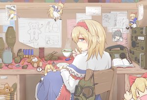 Rating: Safe Score: 118 Tags: alice_margatroid aqua_eyes blonde_hair book bow cube85 doll drink headband long_hair mask military paper phone shanghai_doll short_hair teddy_bear touhou weapon User: Flandre93
