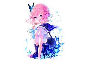 Rating: Safe Score: 109 Tags: blue_eyes butterfly candy lollipop original pink_hair school_uniform sheya short_hair signed sketch skirt User: otaku_emmy
