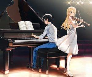 Rating: Safe Score: 37 Tags: aliasing arima_kousei blonde_hair cropped instrument long_hair male miyazono_kaori piano popuru reflection shigatsu_wa_kimi_no_uso User: Fepple