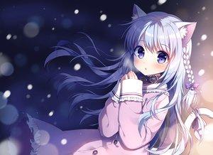Rating: Safe Score: 87 Tags: animal_ears blue_eyes blue_hair blush braids catgirl collar lolita_fashion long_hair mauve original winter User: BattlequeenYume